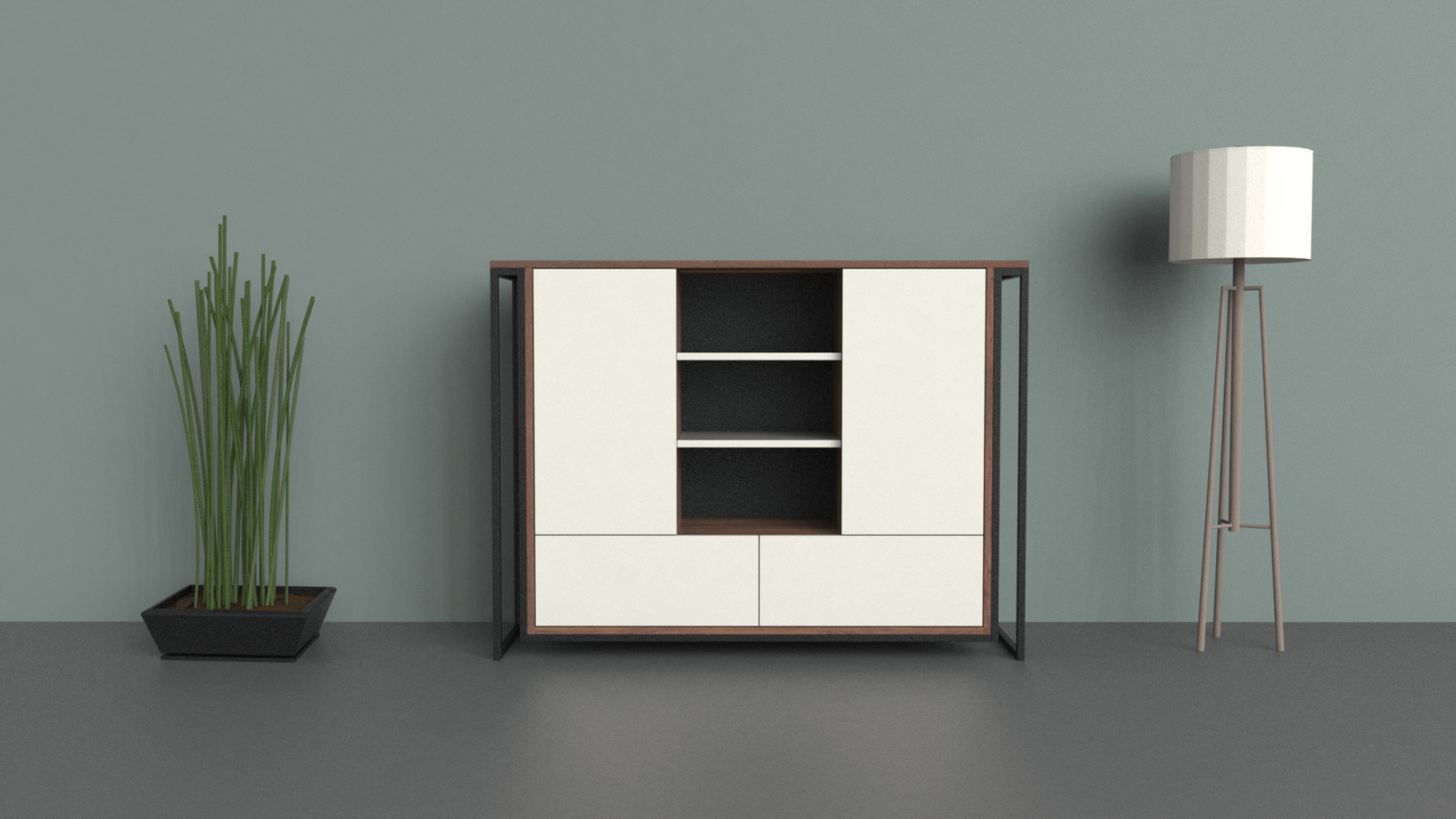 Highboard Schubfächer + Türen + Regal front-min